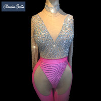 Christia Bella Crystals Bodysuit Women Rhinestones Sexy Jumpsuit Nightclub Ds Leotard Singer Performance Pole Dance Costumes