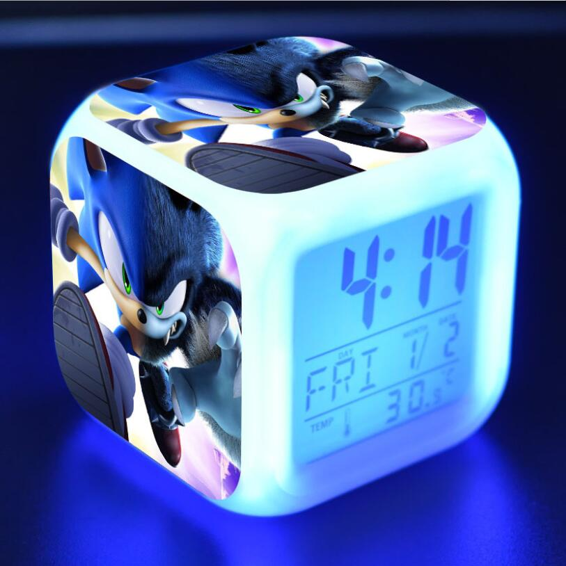 Sonic The Hedgehog Action Figures LED 7 Colors Change Touch Light Alarm Desk Watch Boys Toys