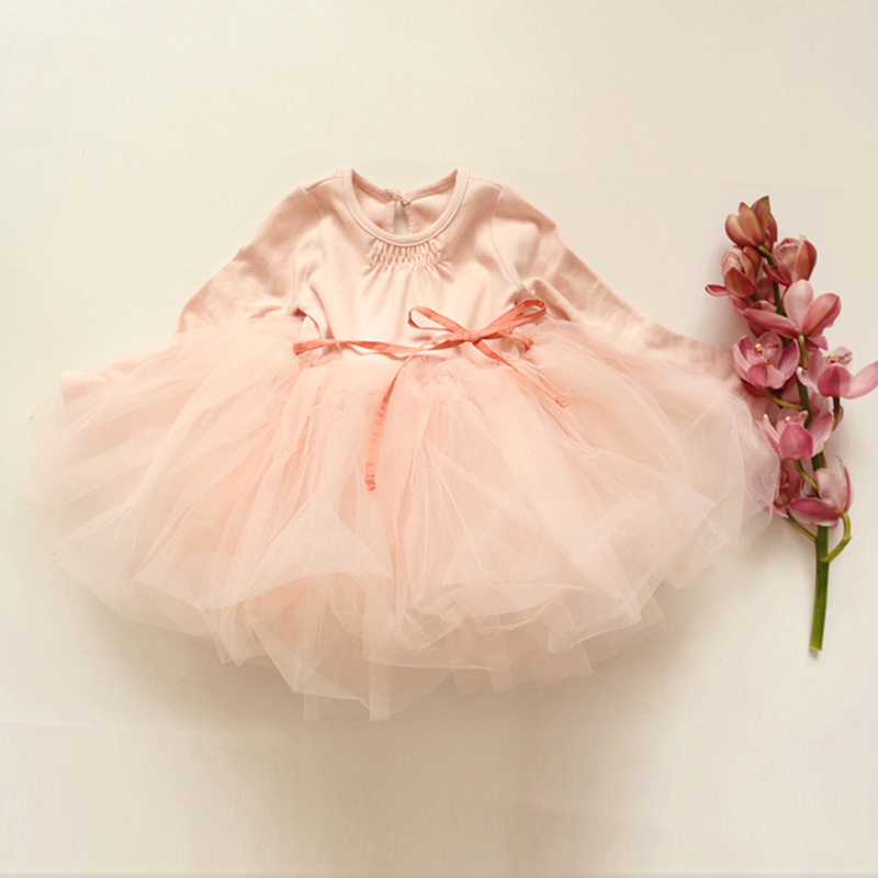 Купить с кэшбэком Little Girls Dress Ball Gowns Cute Baby Long Sleeve Dress Kids Dresses For Girls Party Winter Clothes Children Princess Clothing