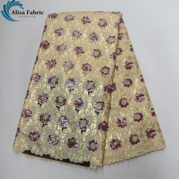 Alisa Golden Sequined African Organza Lace Fabric 2018 High Quality Lace Organza Lace with Embroidery Cut Hole Design for Womon