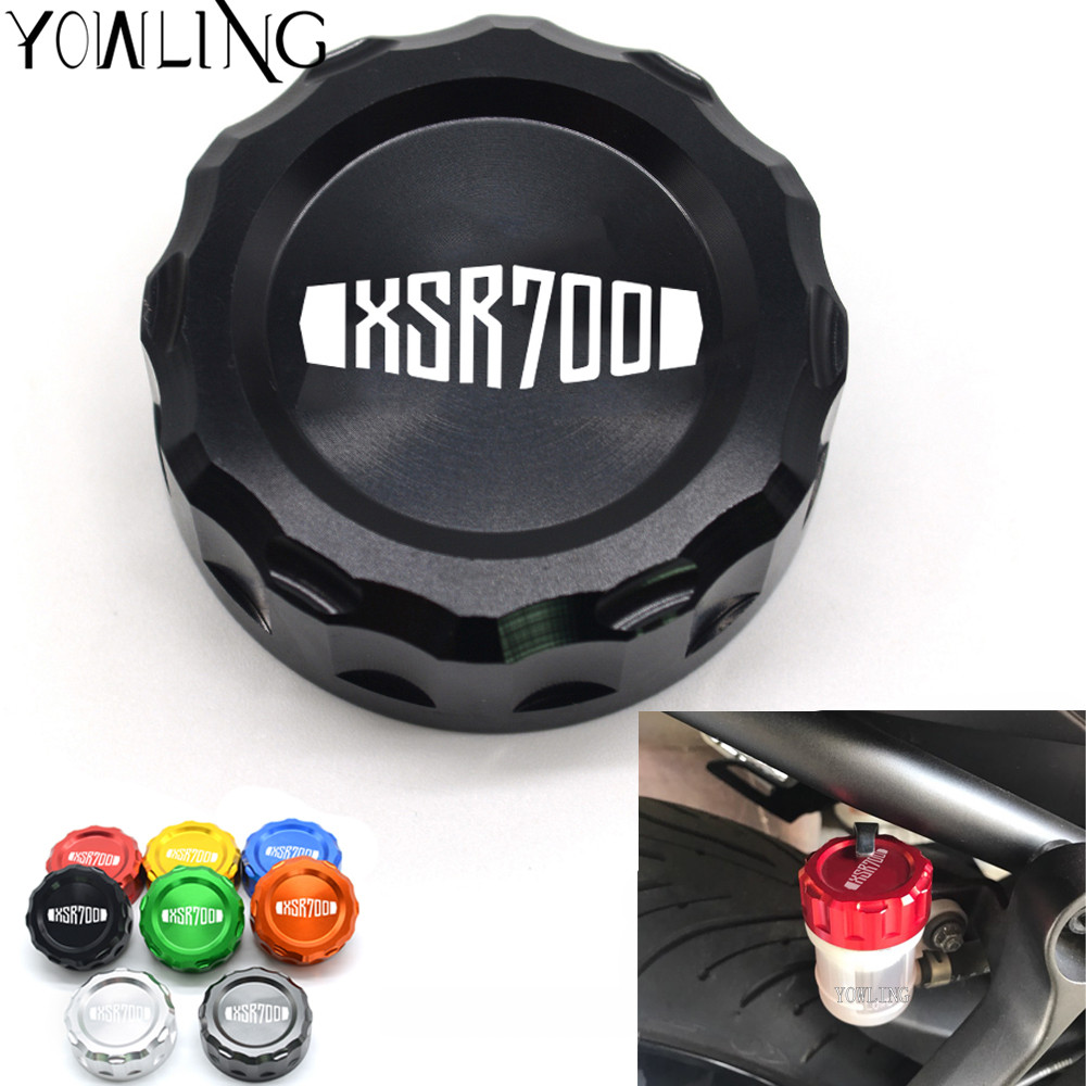 With Logo XSR700 Motorcycle CNC Aluminum Accessories Rear Brake Fluid Reservoir Cover Cap For Yamaha XSR 700 2014 2015 2016 2017 motorcycle accessories cnc aluminum rear brake fluid reservoir cover cap for triumph tiger 800 2001 2014 daytona 675 2009 2011