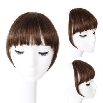 Clip On Air Neat Bangs Human Hair Clip-in Front Two Side Thin Fringe Hair Extensions 网 红 小 姐姐