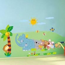 Children s bedroom elephant wallpaper removable vinyl talk coconut tree nursery wall decoration wall stickers accessories