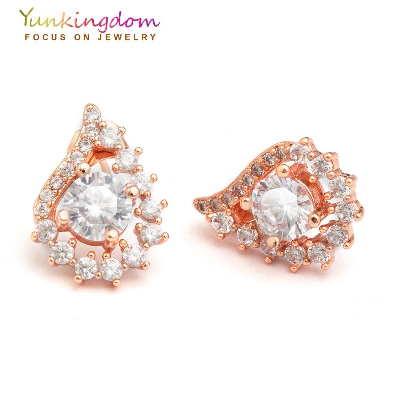 Jewelry Brincos new rose Gold Color zircon crystal shiny Lovely Angel wings Stud Earrings brand jewelry 2 colors