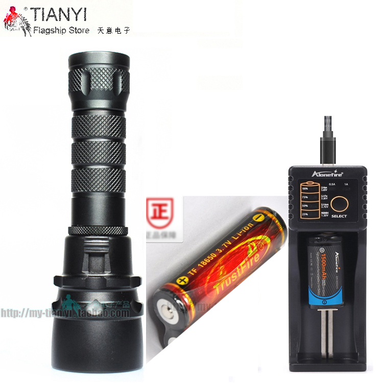 Stepless dimming Diving Flashlight 18650 Light Dive Torch Powerful Cree LED XM-L2 Underwater Flashlight (1 * Battery 1 * USB Cha
