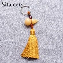 Sitaicery 2PCS/Set Tassel Keychain Gourd Drive Safe Key Chain For Men Boyfriend Gift Bag Car Keys Accessories Rings Trinket
