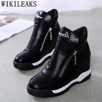 גובה הגדלת נעלי פלטפורמת נעלי נשים אישה נעלי tenis feminino שחור שטוח מזדמן zapatillas mujer sapato feminino