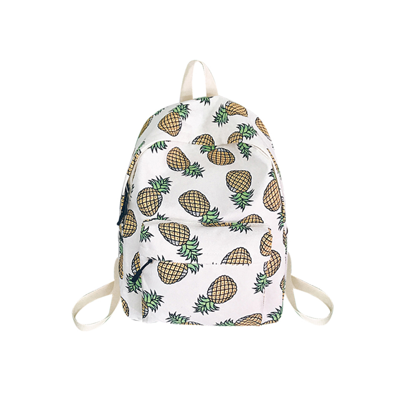 Cartoon Women Backpack For School Bag Teenagers Girls Boys Bags Pineapple Cute Back Pack Canvas Printing Backpack Travel Mochila vintage cute owl backpack women cartoon school bags for teenage girls canvas women backpack brands design travel bag mochila sac