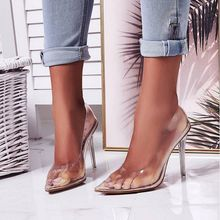 Jinsen Aite Women Sandals New Sexy PVC Clear High Thin Heels Party Wedding Shoes 42 Plus Size Cover Heel Slip-On JS817