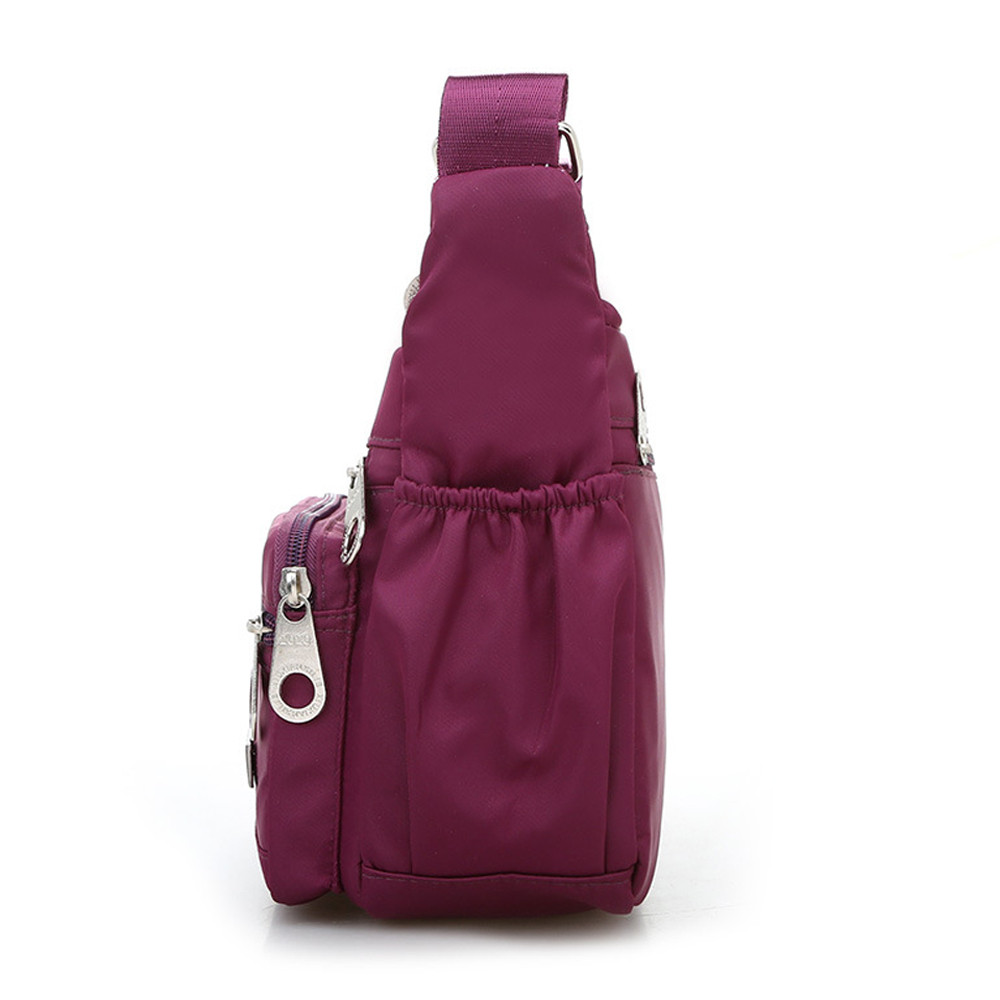 Women Fashion Solid Color Zipper Waterproof Nylon Shoulder Bag  Handbags,Shoulder Bag purple 25cm*19cm*9cm 37