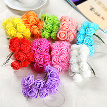 144Pcs Head Multicolor PE Rose Foam Mini Artificial Silk Flowers Bouquet Solid Color Wedding Decoration Wreaths 2cm Diameter