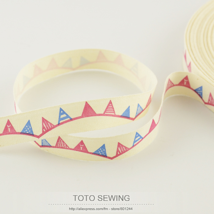TOTO SEWING 1.5CM width Zakka handmade accessory mini.order is $5 (mix order) flag label cotton ribbons tapes FREE SHIPPING