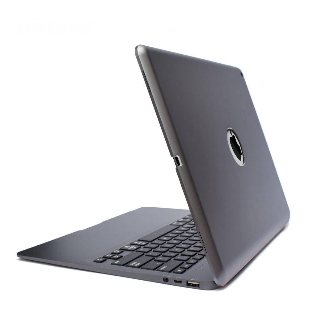 Witsp @ d pour APPLE IPAD PRO 12.9 étui pour clavier, rétro-éclairé en aluminium mince Bluetooth sans fil couvercle de clavier avec Powerbank 5200 mah