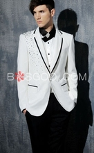 Mens stage clothing beaded white men blazer slim fit Man Performance Costume men's blazers and suit jackets