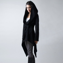 2017 Women's Winter Coats Fashion Black Irregular Long Coat Woman Casual Hooded Wool Overcoat Women's Winter Park Coat