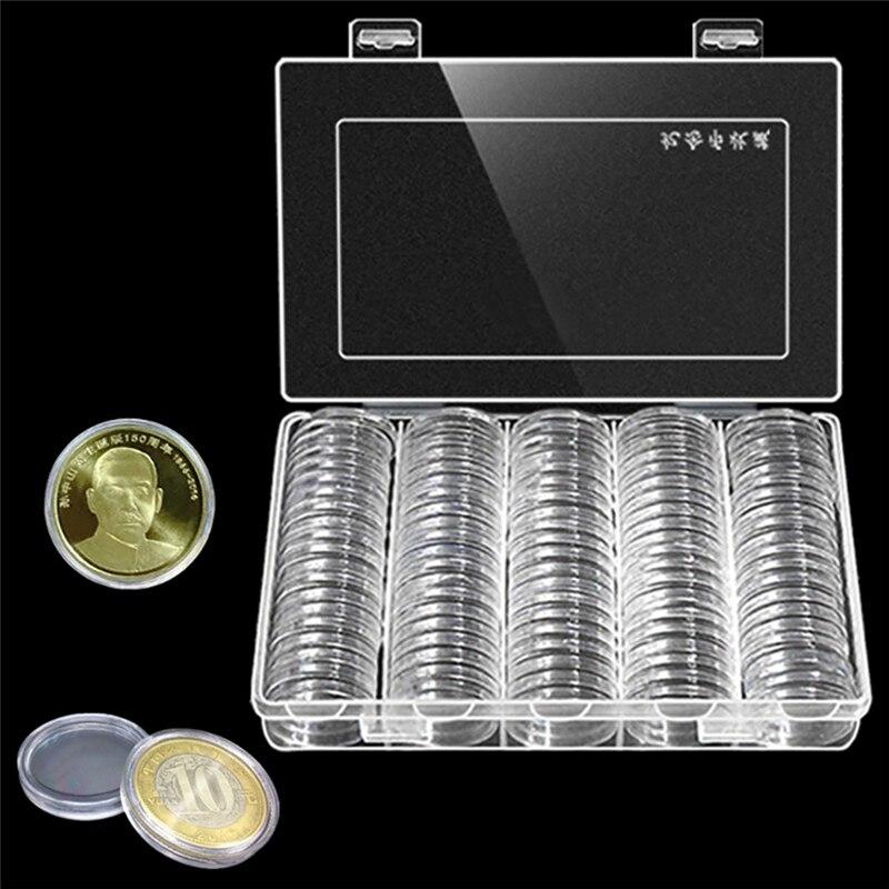 100 Teile/schachtel Münze Box Klar 30mm Runde Boxed Halter Kunststoffkoffer Kapseln Display Fällen Veranstalter Collectibles Geschenke