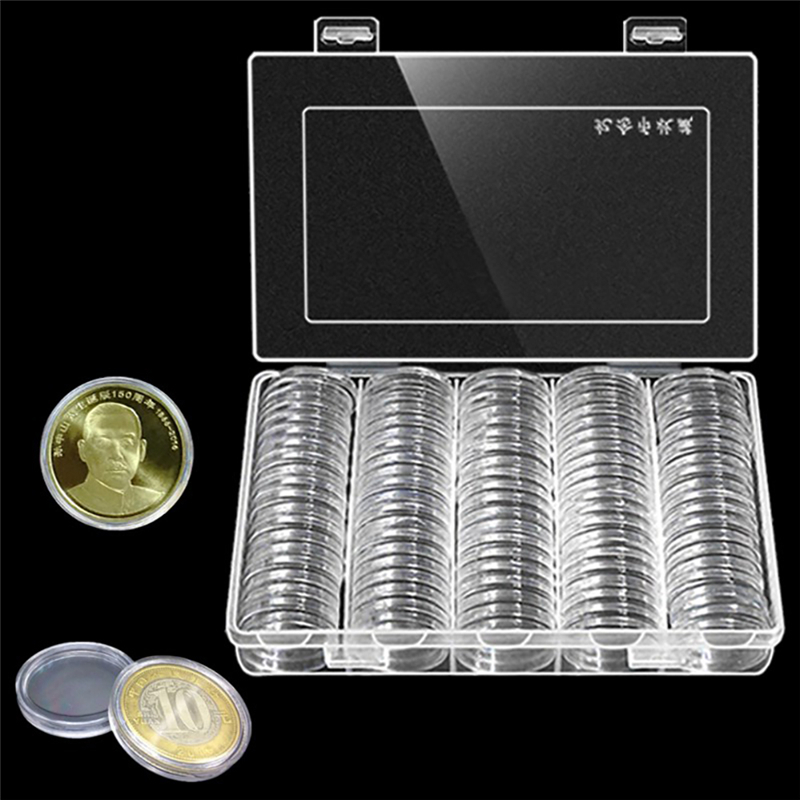 100Pcs/Box Coin Box Clear 30mm Round Boxed Holder Plastic Storage Capsules Display Cases Organizer Collectibles Gifts