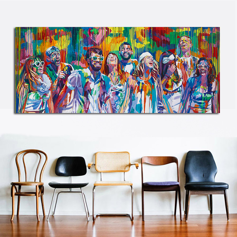 ✓JQHYART Triumphant Laughter Modern Home Decor Oil Painting Wall ...