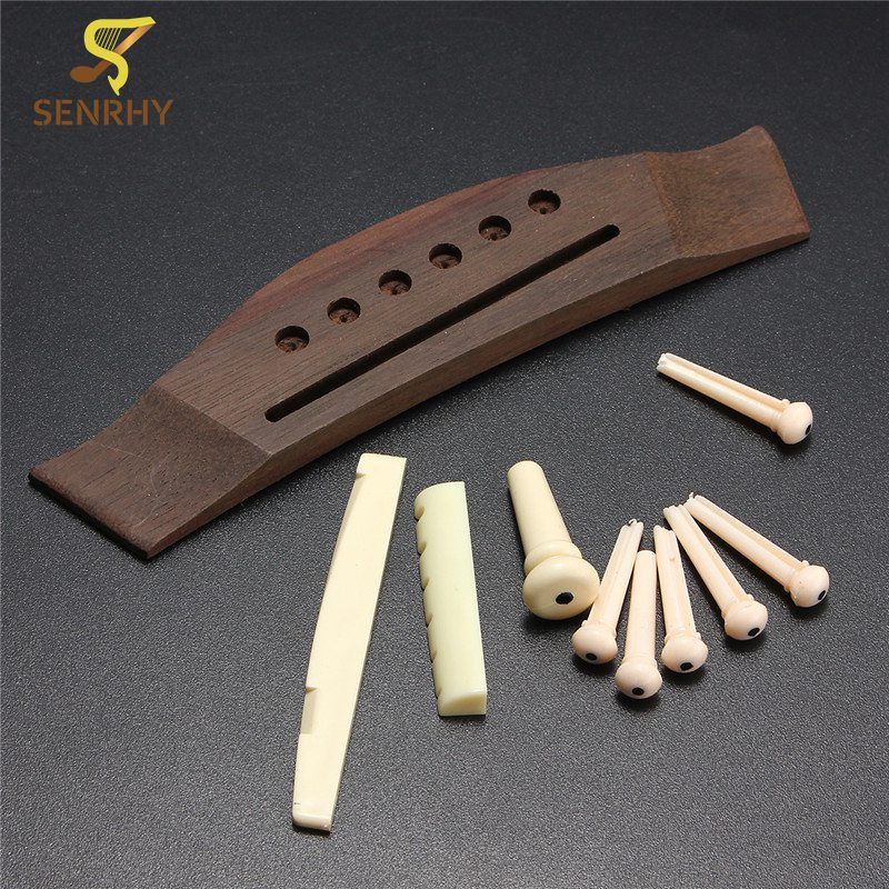 1 Set Professional Universal Acoustic Guitar Bridge + Bone Bridge Pins/Saddle/Nut Saddle Guitar Parts & Accessories