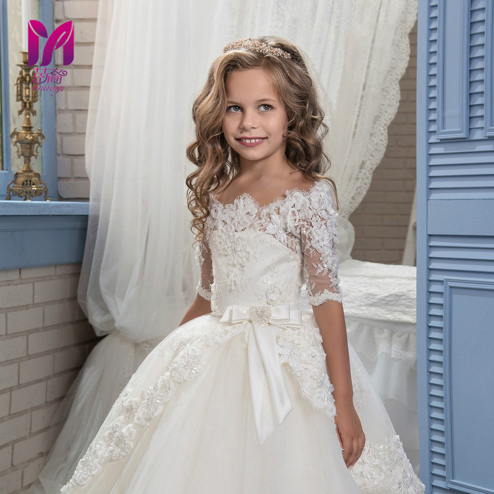 The new White Floral dresses Lace retro Girl Tutu flower girl dress with long sleeves yellow lace up design floral print off the shoulder long sleeves two piece outfits