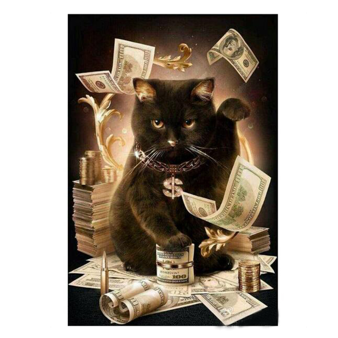 Well Diamond Embroidery Cat With Cash Pattern DIY 5D Diamond Painting Needlework Cross Stitch Full Drill Rhinestones Painting