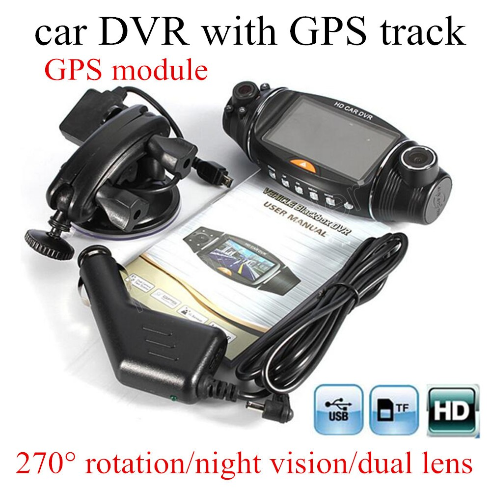 free shipping 2 7 inch night vision Video Dashboard Vehicle Dual Lens Camera Recorder GPS module