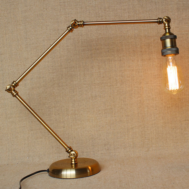 European And American Retro Table Lamp Shadeless Adjustable Desk Lamp  Edison Bulb Bedside Lamp For Hotel