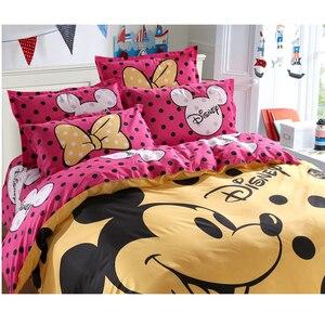 Image 2 - Disney Mickey Maus Bettbezug set 3 oder 4 Stück Volle Twin Einzigen Größe Bettwäsche Set für Kinder Schlafzimmer Dekor bett Leinen