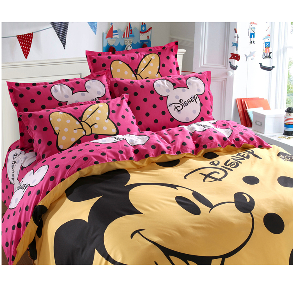 Image 2 - Disney Mickey Mouse Duvet Cover Set 3 or 4 Pieces Full Twin Single Size Bedding Set  for Children Bedroom Decor Bed Linen-in Bedding Sets from Home & Garden