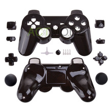 Black Carbon Fiber Replacement Full Set Shell Buttons for PS3 Game Controller