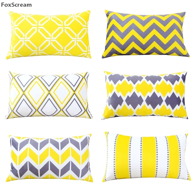 Rectangle Decorative Lumbar Pillow Covers Home Decor Yellow Throw Pillows Grey Geometric Cushions Velvet Pillowcase For
