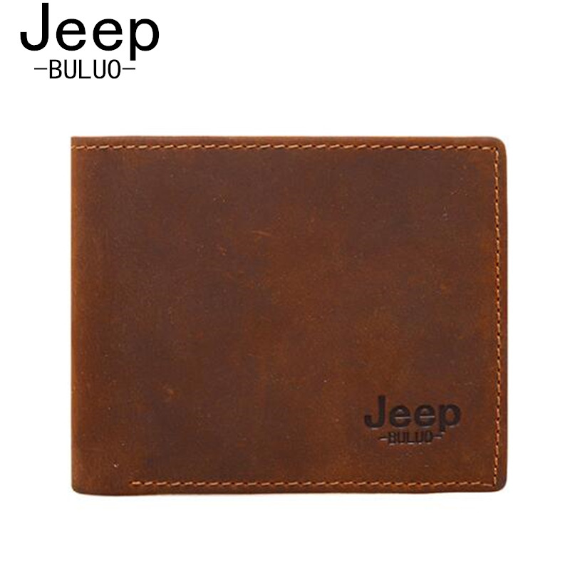 Natural Real Cow Leather Men Wallets Jeep Brand Vintage Man's Genuine Leather Wallet Purse Bag Brown Burse Carteira Masculina 03 high quality vintage men genuine leather wallet with coin bag brand wallets carteira masculina couro leather purse free shipping