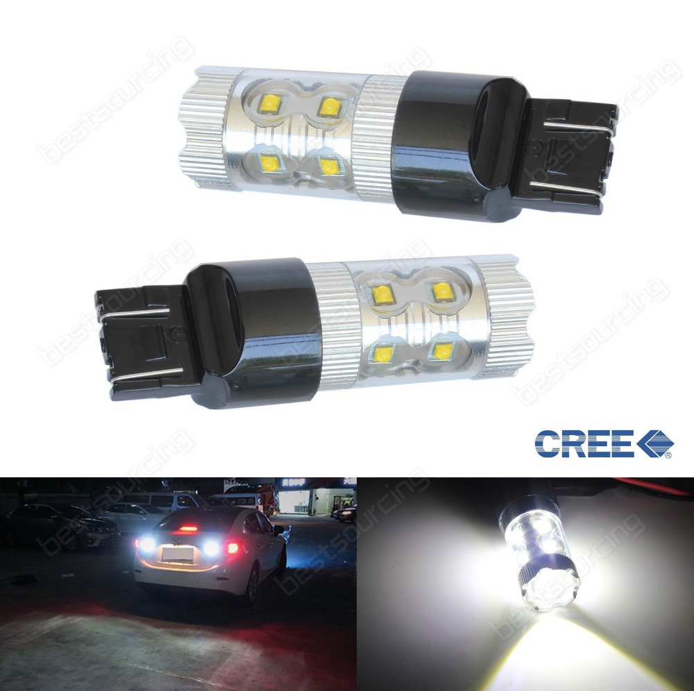 2x 7440 582 W21W High Power 50W LED Projector Brake Reverse Tail Light Bulb(CA302)