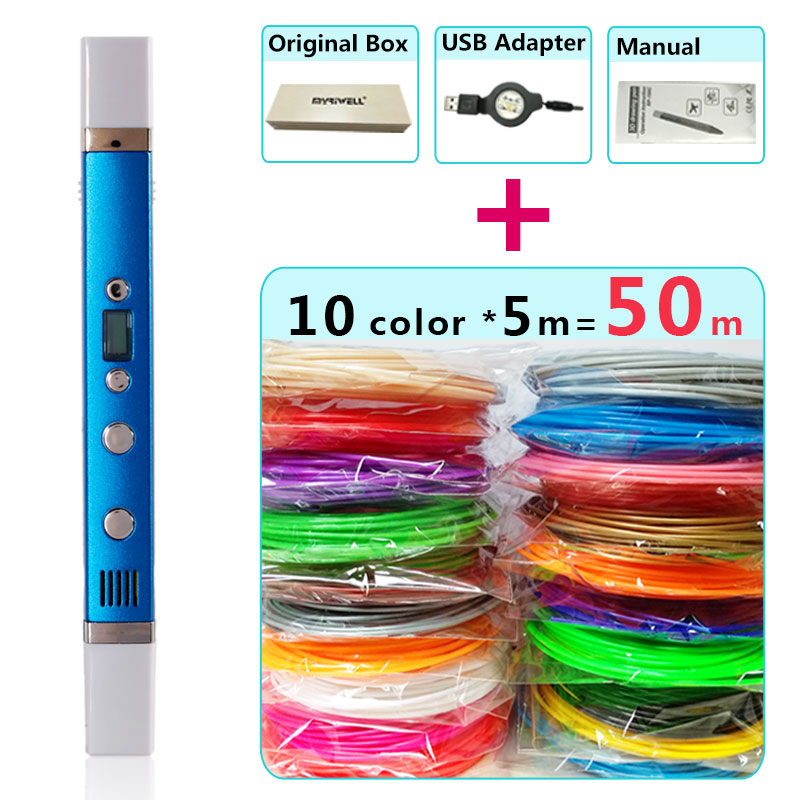 myriwell 3d pen + 10 Colour * 5m ABS filament(50m),3d printer pen-3d magic pen,Best Gift for Kids,Support mobile power supply, myriwell 3d pens 20 10m abs filament 3 d pen 2017 smart 3d printed pen best gift for kids 3d print pen 3d model 1 75mm pla
