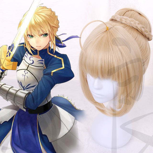 73b977dbec4 fate/stay night Fate/Grand Order Saber wig Cosplay Golden wig Cosplay  Halloween Carnival