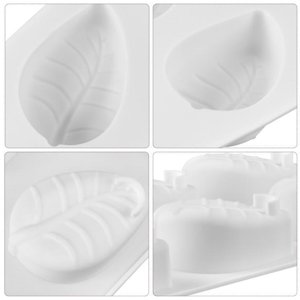 6 Holes Leaves Cake Mould Silikonform Moule Silicone Mold For Baking Home Party Wedding Fondant Mousse DIY Baking in Cake Molds from Home Garden