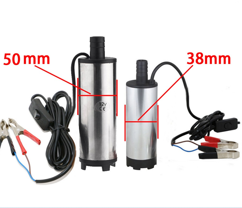 50 mm DC 12V / 24V Water Oil Diesel Fuel Transfer Pump Submersible Pumps Car Camping fishing Submersible Switch Stainless Steel