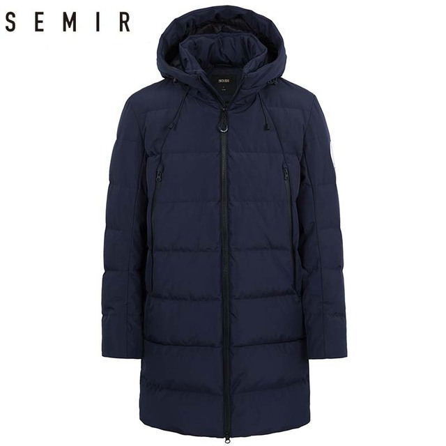 0398204b4e74 SEMIR down jacket for men casual thick warm winter long hooded coat duck  down jacket for men winter clothes men outerwear