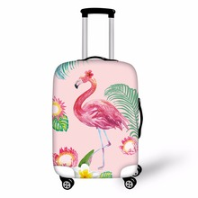 ФОТО FORUDESIGNS 3D Flamingo Elastic Luggage Protective Covers for 18- 28 Inch Suitcase Thick Dust Rain Cover Travel Bag Case Cover