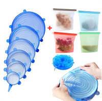Silikon Lagerung Tasche Wiederverwendbare Ziplock Gefrierschrank Kochen Frische Taschen, Silikon Stretch Deckel, Lebensmittel Luftdicht Erhaltung Tasche Container