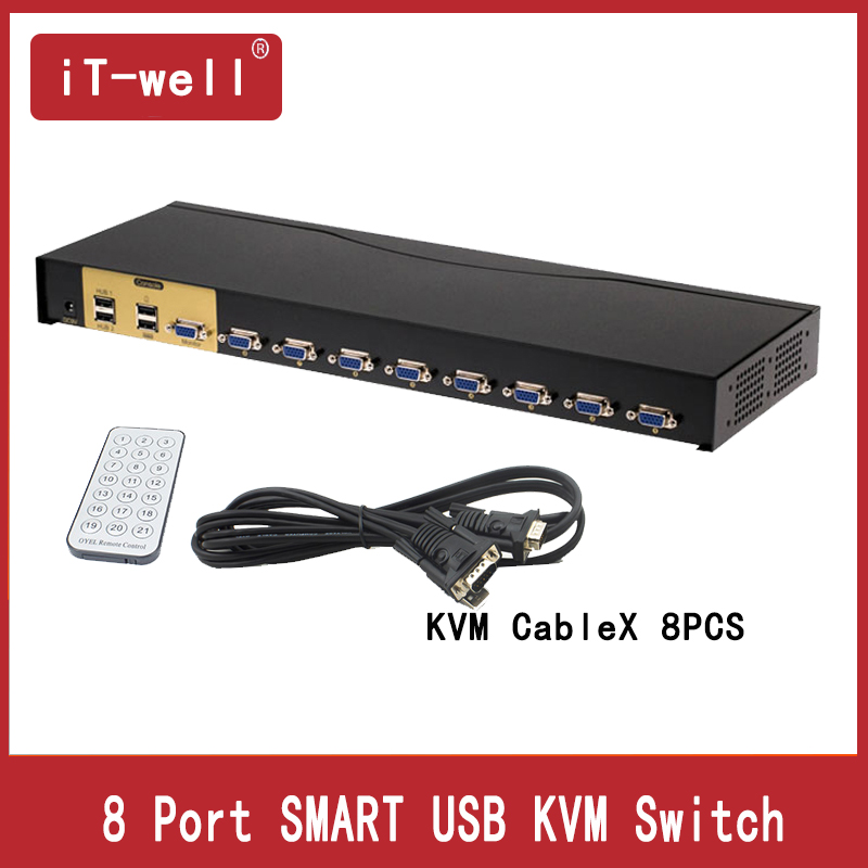 SMART   KVM Switch 8 Port VGA SVGA Switch Adapter Connect Printer Keyboard Mouse 8 Computer Use 1 Monitor