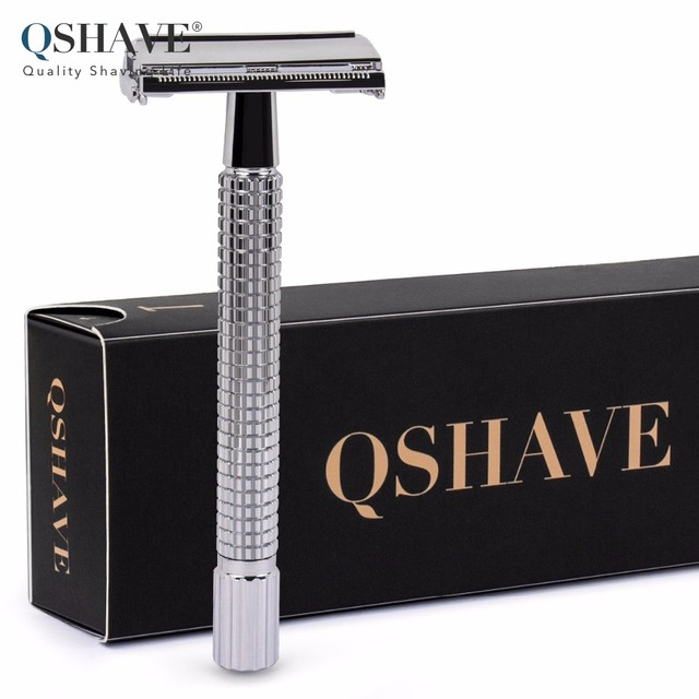 Qshave Double Edge Safety Razor Long Handle Butterfly Open Classic Safety Razor silver color, 1 Handle & 5 blades