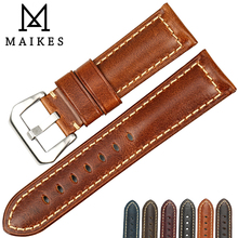 MAIKES High Quality Watchband Brown Vintage Oil Wax Leather Strap Watch Band 20mm 22mm 24mm 26mm Watch Accessories For Panerai все цены