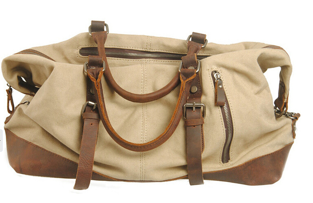 Large Canvas Travel Bag High Quality Vintage military Leather Canvas travel  bags men weekend luggage sports f470bad7834a4