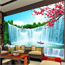 beibehang Custom wallpaper murals any size photo waterfall window magnificent wealth rolling billow landscape background