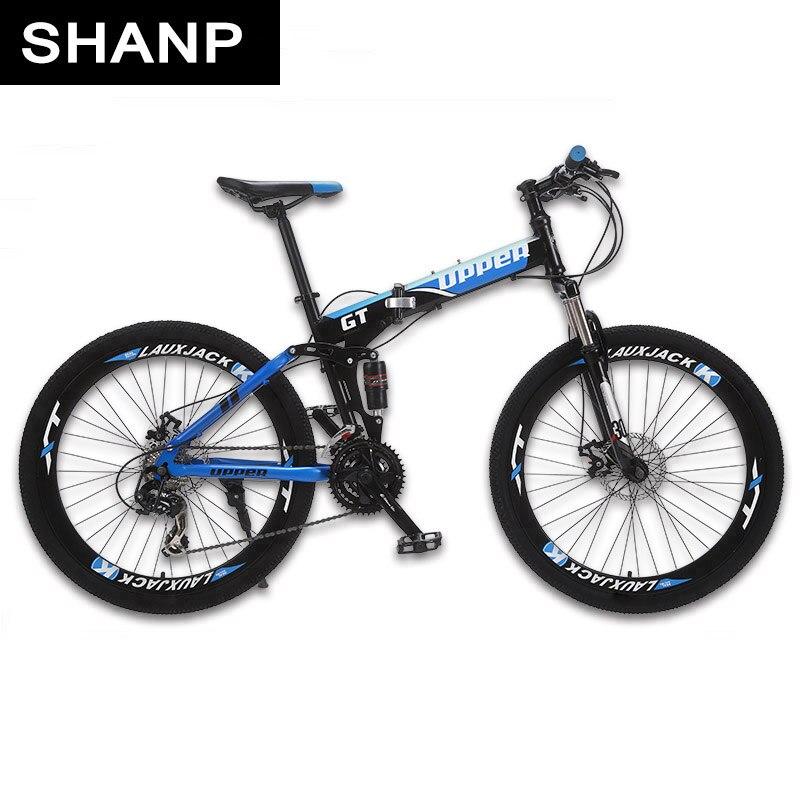 GT-UPPER Mountain Bike Pieghevole Telaio In Acciaio Meccanico Freno A Disco 24 Velocità Shimano 26