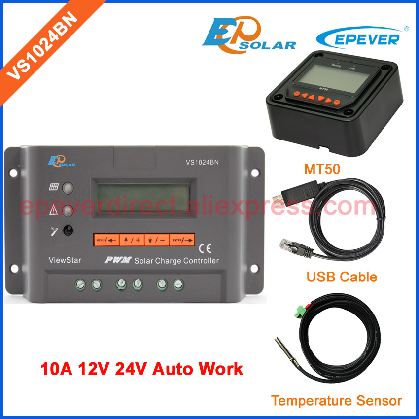 MT50 remote meter for monitor VS1204BN EPEVER charger controller for solar panel system USB cable and temperature 10A 12V 24V 20a 12 24v solar regulator with remote meter for duo battery charging