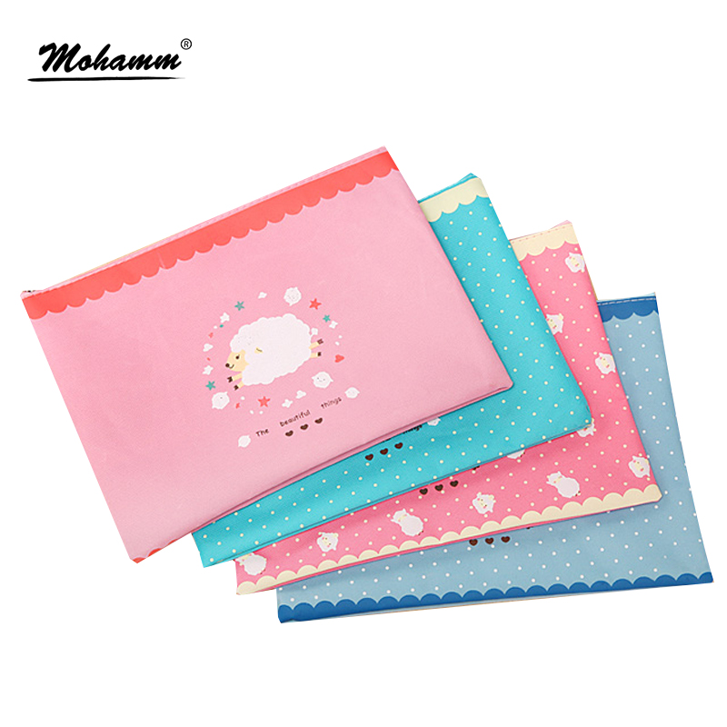 Creative Cute Sheep Oxford Canvas A4 File Bag Kawaii Stationery Storage Bag Pen Bag For Student Gift Office School Supplies