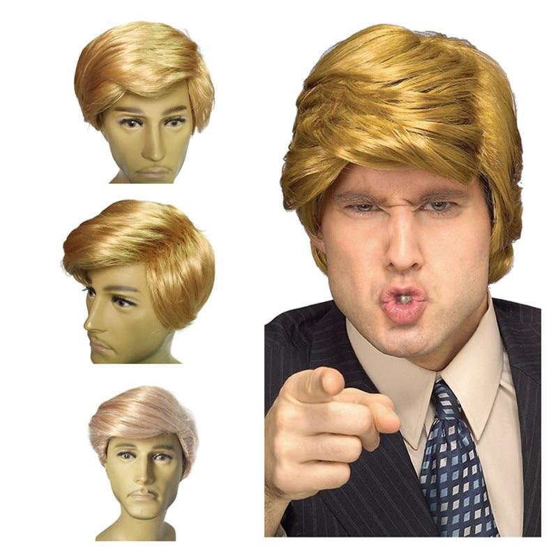 Donald trump peruca traje loira pente sobre peruca cabelo sr. bilionário traje peruca cabelo candidato fantasia vestido headwear