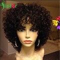 Afro Rizado Rizado Corto Pelucas de Cabello Humano Brasileño de la Virgen Llena Del Cordón Kinky Rizado Pelucas de Pelo humano Con El Pelo Del Bebé Sin Cola de Encaje Peluca